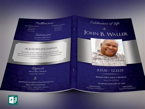 publisher program templates dignity funeral program publisher template on behance