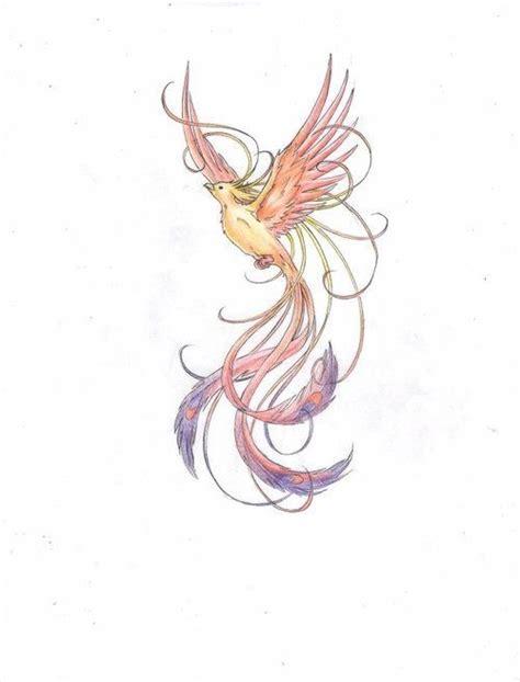 phoenix tattoo pretty cute elegant pale coloring phoenix tattoo design