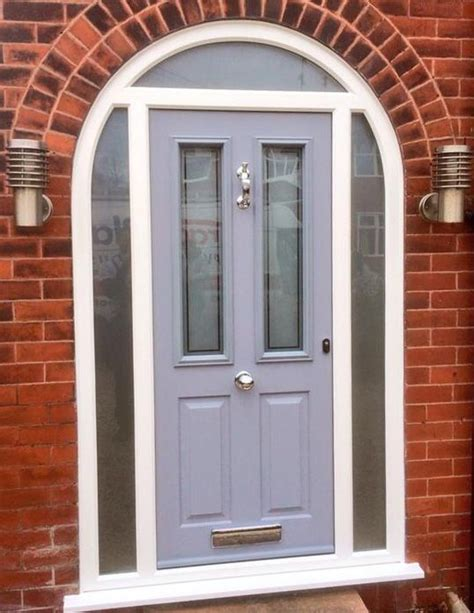 Solidor Front Doors Grey Solidor With Bespoke Satin Glass Urmston New Front Door And Porch