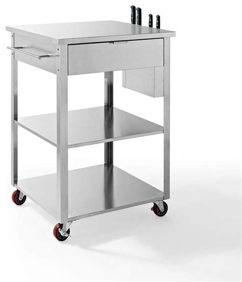 kitchen trolleys and islands crosley furniture culinary prep kitchen cart in stainless steel contemporary kitchen islands