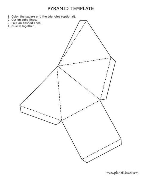 how to make a paper boat no tape printable 3d pyramid template color it cut it out fold