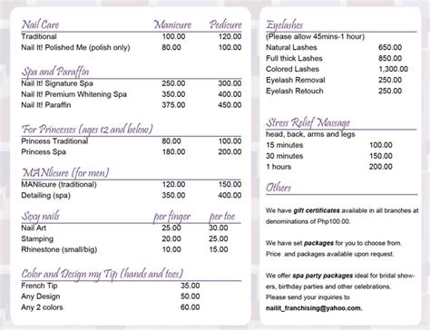 nail price list template style and soul precious moments nail pering sessions