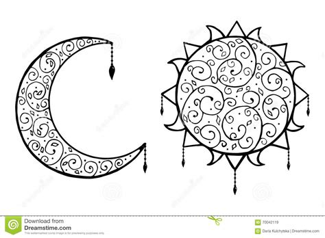 moon and doodle decorative doodle sun and moon with isolated vector