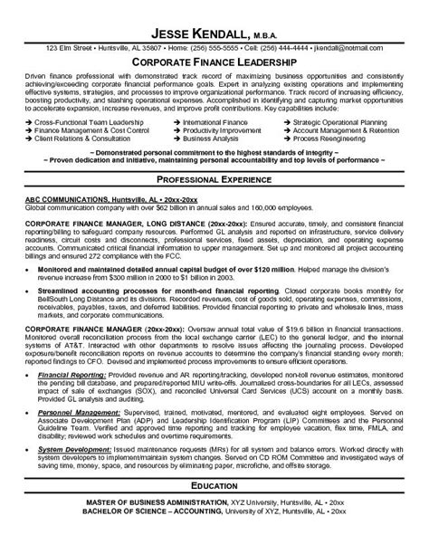 Finance Resume Exles by Financial Resume Template Learnhowtoloseweight Net