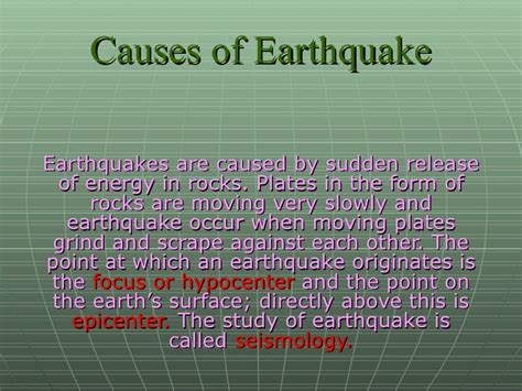 earthquake reason earthquake ppt