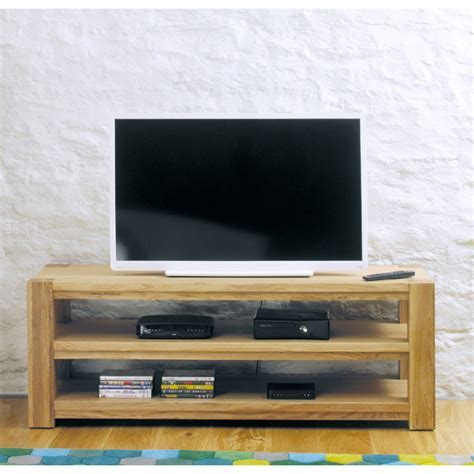 Aston Oak Widescreen Open Television Cabinet   Wooden