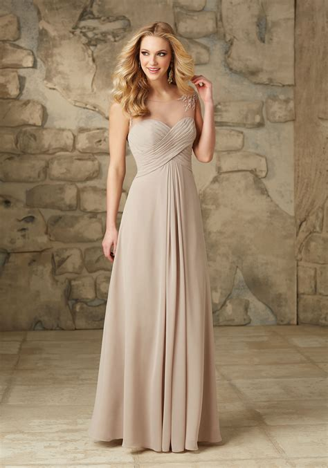 Bridesmaid Dresses - chiffon bridesmaid dress with embroidered detail on