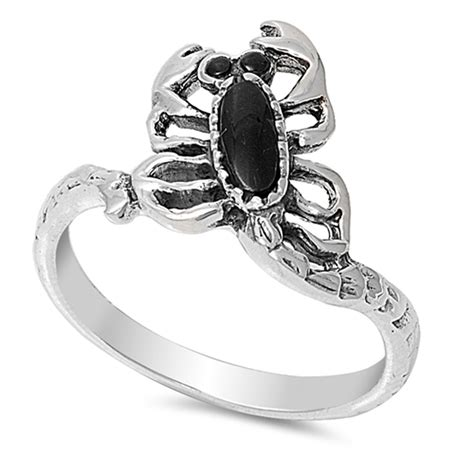 sterling silver s black onyx scorpion ring promise