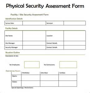 Risk Assessment Security Survey Template by Sle Security Assessment 6 Documents In Pdf Word