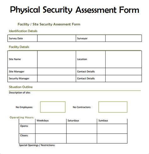 7 Security Assessment Sles Exles Templates Sle Templates Physical Checklist Template