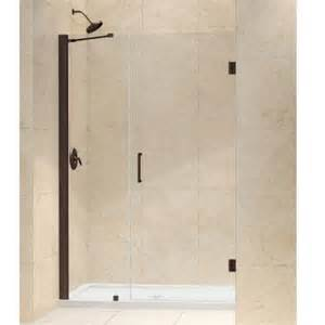 frameless pivot shower door rubbed bronze dreamline unidoor 47 in x 72 in frameless hinge shower
