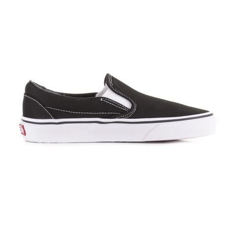 womens vans classic slip on black white skate trainers shoes plimsolls size ebay