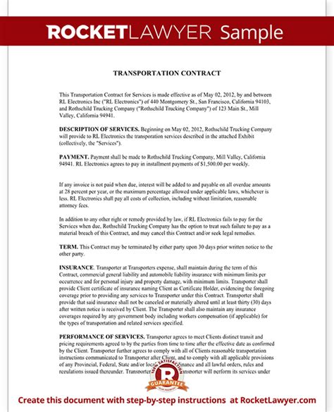 Letter For Hauling Services Transportation Contract Agreement Form With Sle