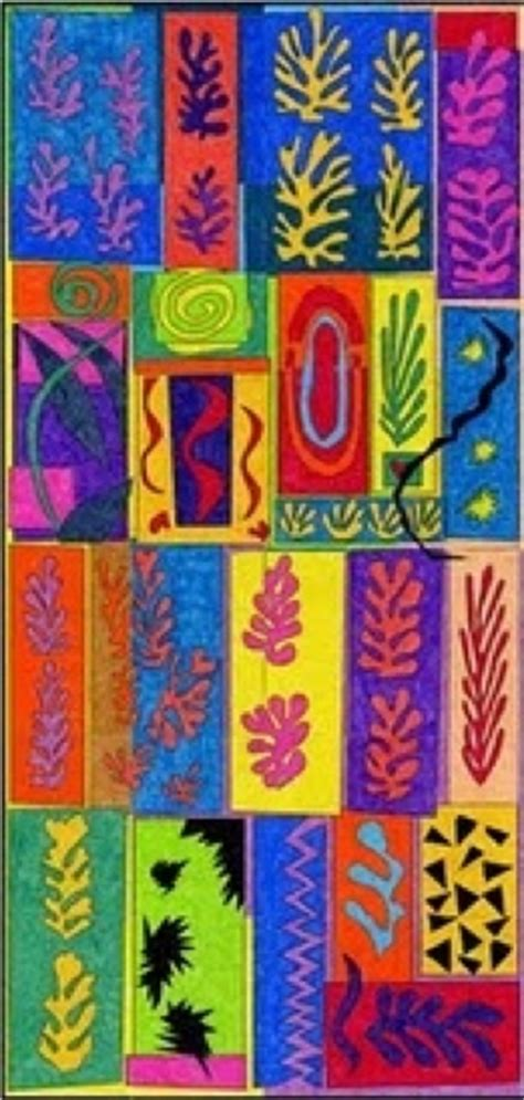 shape pattern collage matisse inspired collaborative cut out collage organic
