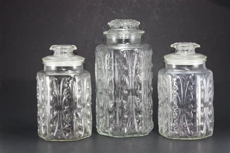 clear glass kitchen canister sets vintage clear glass canister decorative embossed jars