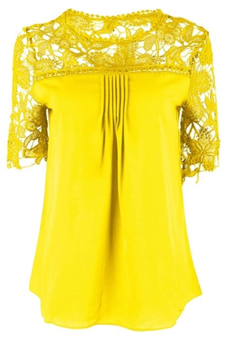 Yellow Sapphire Blouse womens plain lace splicing sleeve blouse yellow pink
