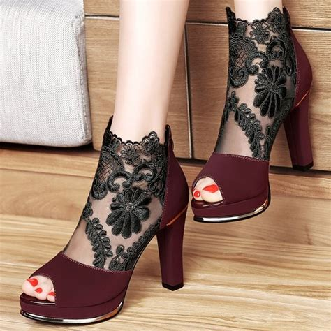 Sepatu Highhells D G 600 2 s claret chunky heels peep toe lace ankle booties for date going out fsj