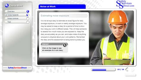 online tutorial work online noise at work awareness training course safety