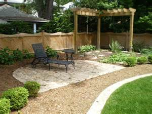 Simple Landscaping Ideas For Backyard by Black Chaise Lounge And Corner Wooden Pergola For Simple