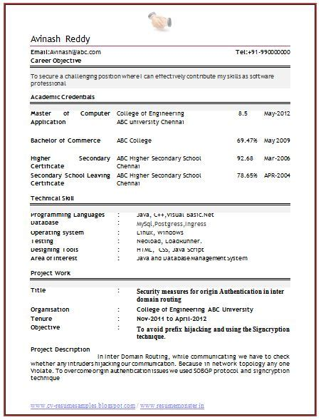 resume sle for computer science engineering fresher professional curriculum vitae resume template for all seekers excellent exle of a