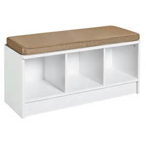 entryway 3 cube storage bench white organization