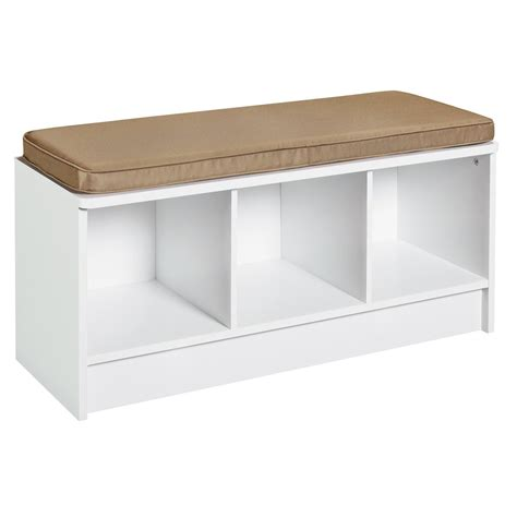 White Storage Bench Entryway 3 Cube Storage Bench White Organization Furniture Hallway Window Seat Ebay