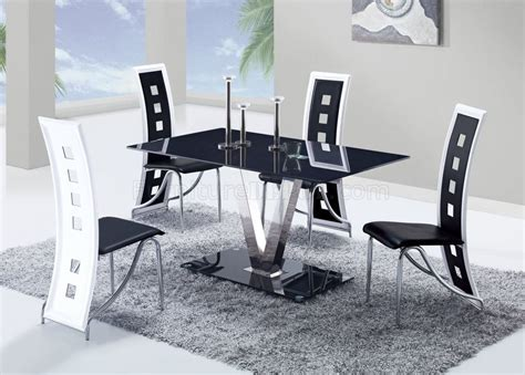 Global Furniture Dining Room Sets D551dt Dining Set 5pc W 803dc Black White Chairs By Global
