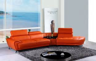 Orange Sectional Sofa Divani Casa Raizel Modern Orange Leather Sectional Sofa