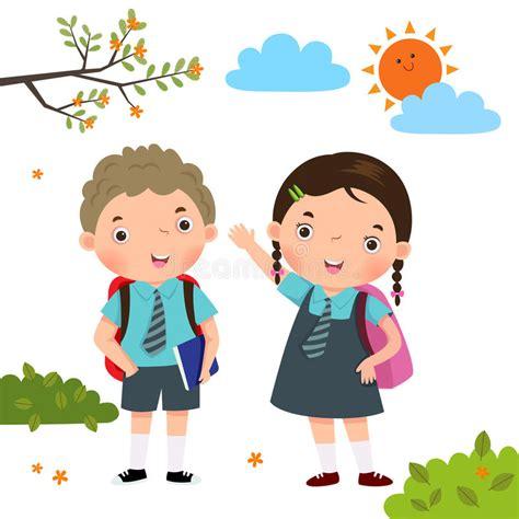 imagenes niños que van ala escuela dos ni 241 os en el uniforme escolar que va a la escuela