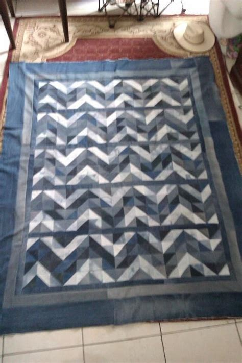 jeans blanket pattern recycled denim quilt chevron block pattern sewing