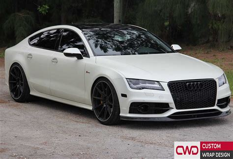 white wrapped audi a7 satin pearl white wrap