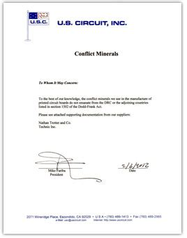 U S Circuit Inc Premier Printed Circuit Board Fabrication Conflict Minerals Compliance Letter Template