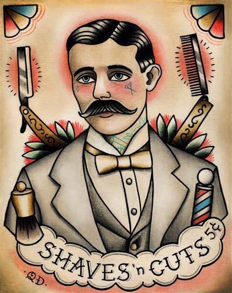 gentlemans tattoo flash uk traditional tattooed barber tattoo art print