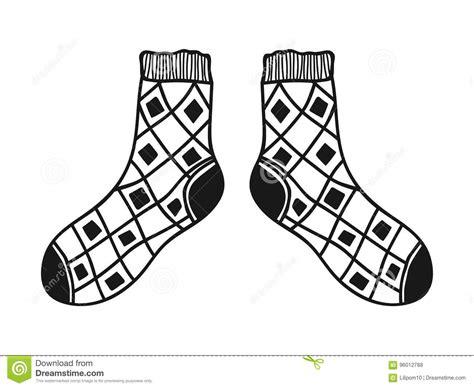 clipart bianco e nero calzini di scarabocchio illustrazione in bianco e nero per