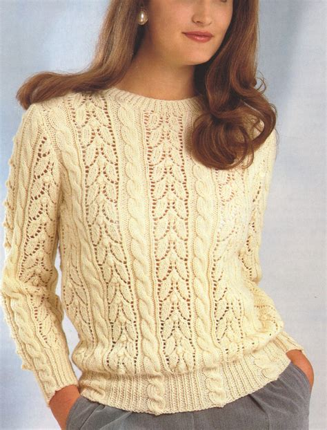 knitting pattern lace jumper lace cable sweater dk wool 30 quot 40 quot knitting