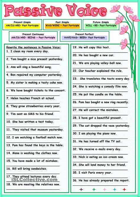 linguistic pattern of active and passive voice passive voice english worksheets pinterest english