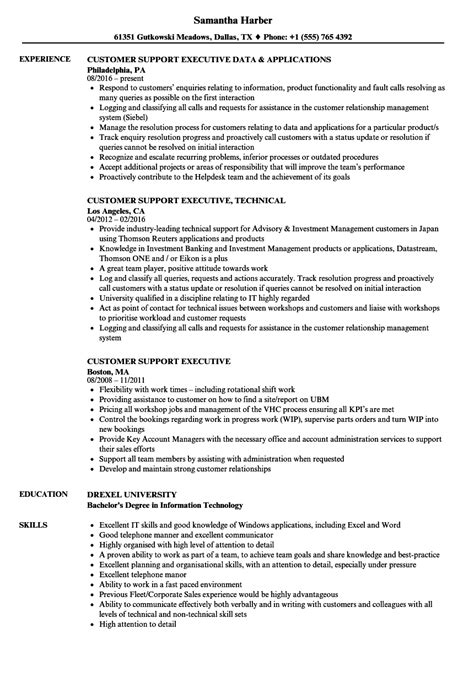 resume format for customer support executive customer support executive resume sles velvet