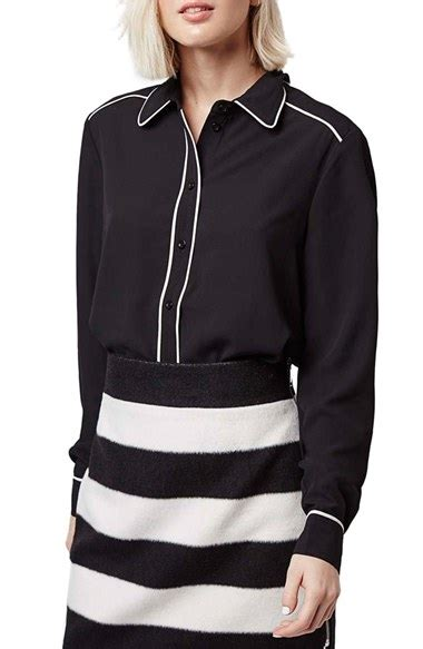 Contrast Piping Shirt lyst topshop contrast piping shirt in black