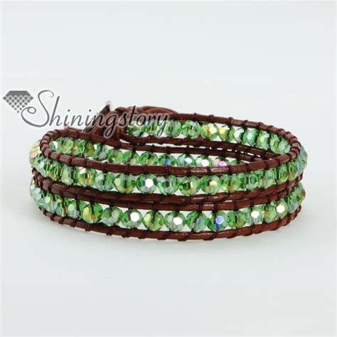 two layer bead beaded leather wrap bracelets wholesale
