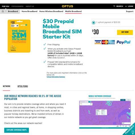 optus prepaid mobile optus prepaid mobile broadband 30 sim 14gb 30 days