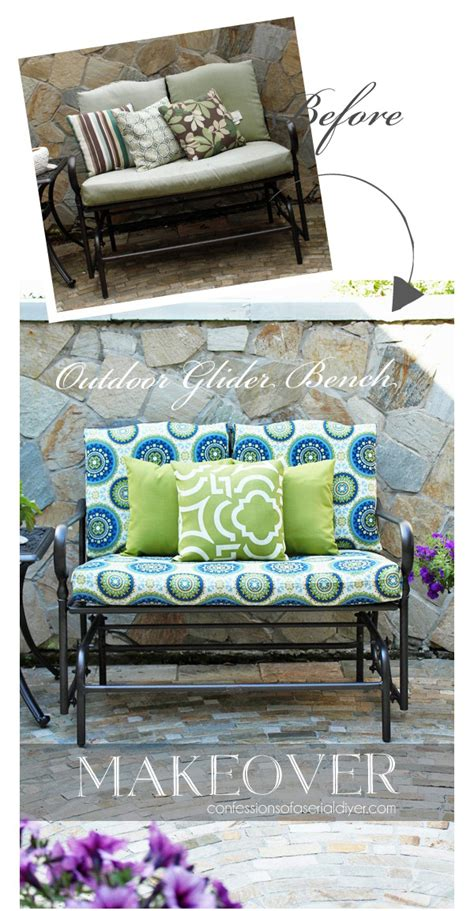 diy outdoor bench cushion outdoor glider bench makeover confessions of a serial do