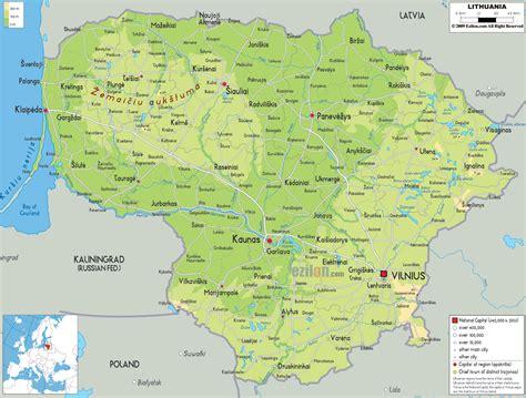 map of lithuania physical map of lithuania ezilon maps