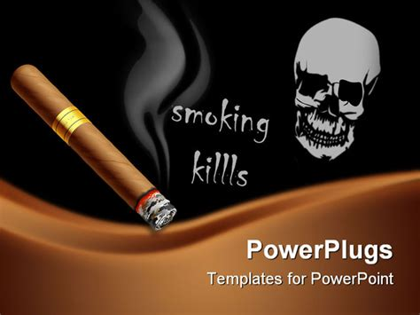 the vector illustration of a smoldering cigar powerpoint