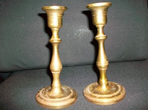 Brass Candle Holders 2 Vintage Brass Candle Stick Holders