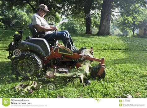 Landscaper Lawn Mower Landscaper On Lawn Mower Stock Photo Image 41797710