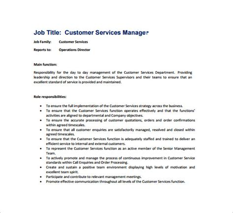 Duties Of A Customer Service by Operations Director Description Marketing Operations Manager Description A Template