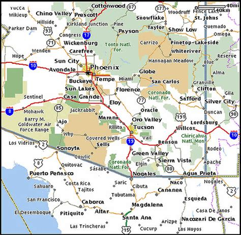 road map of arizona and new mexico arizona mexico map flickr photo
