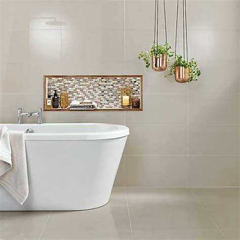 wickes wall tiles bathroom wickes infinity ivory porcelain tile 600 x 300mm wickes