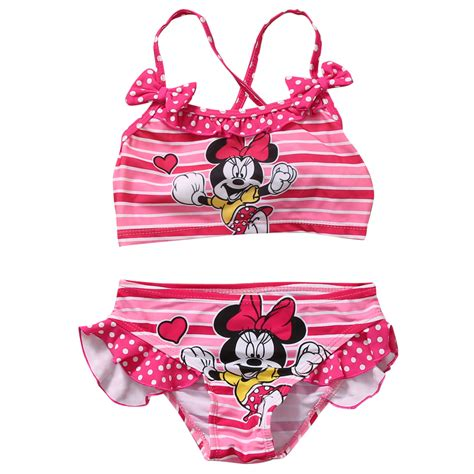Ailubee Piyama Minnie Mouse Kidsz 2017 new minnie mouse swimwear set bowknot beachwear character bathing