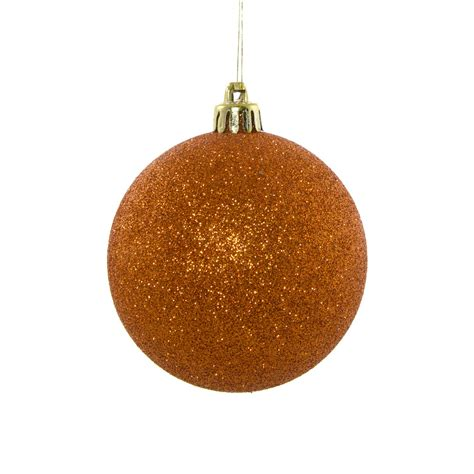 80mm round glitter ball ornament copper orange xy203348